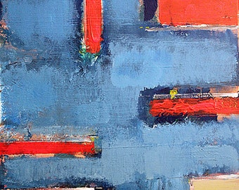 """Abstract modern painting blue and red original canvas 24"""" x 18"""" AIDA"""