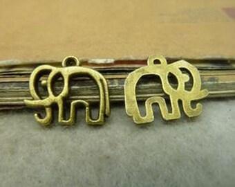 50pcs 14x17mm Antique Bronze Lovely Elephant Charm Pendant c4987