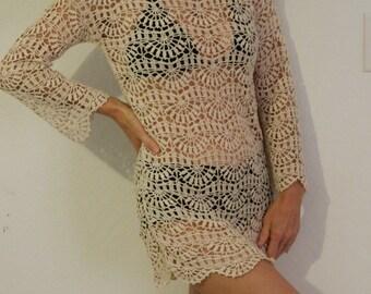 Summer tunic beach tunic lacy mini summer dress hand made crochet in purl beige color 100% mercerized cotton
