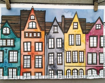 COLOGNE GERMANY Original 7.5x11.5 Ink and Watercolor Painting