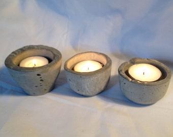 Concrete tealight holders