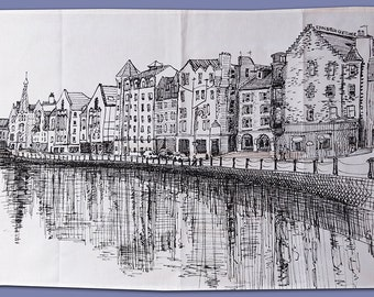 Printed tea towel with The Shore, Edinburgh illustration