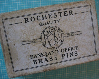 Vintage Box Rochester Bank and Office Brass Pins Empty