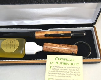 LDS Consecrated Oil Vial and Pen Made Out Of Olive Wood From Bethlehem Isreal