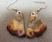 Unique Raw Edge Buckeye Burl Dangle Exotic Wood Earrings by ExoticWoodJewelryAnd Ecofriendly repurposed