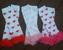 READY To SHIP Valentine's Day Chiffon Ruffled Heart Leg Warmers ,photo prop, 1st Valentine's Day,infant, toddler, girls,  baby girls