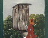ALFhouse - an Outhouse Alf print, perfect for your bathroom - ALFfirmation of a thrift store painting