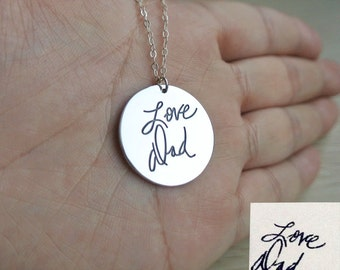 Signature Necklace,Handwritting  Necklace,Circle Signature Necklace,Custom Handwritting Jewelry, Personalized Necklace,Christmas Gift N017