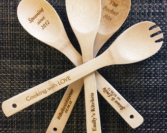 Engraved Wooden Spoons! Great for Weddings - 3 Spoons