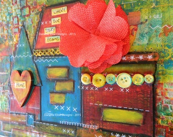 """Abstract House with Fabric Flower and Vintage Buttons // Valentine's Gift // Gifts for Her // Inspiration Art // """"Where Our Story Begins"""""""