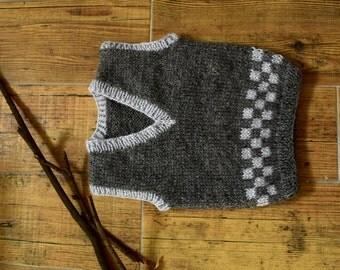 Hand knit wool baby vest, grey boys vest, Grey Knitted Baby Vest, Wool Baby vest,Kids vest, Children vest, Toddler vest