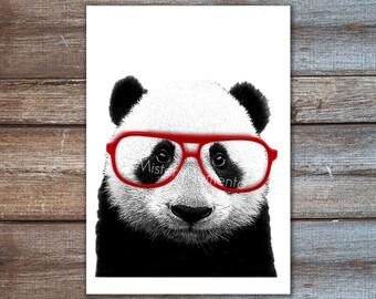 Panda with glasses art print, panda giclee A4 or 8x10, 5x7