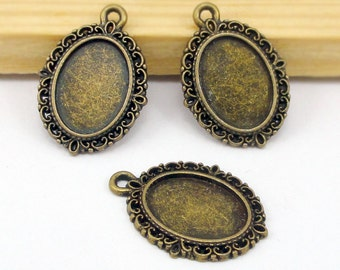 30pcs of Antique Bronze Oval Cabochon Base Settings Charms, Pendant Trays Match 10x14mm Cabochon