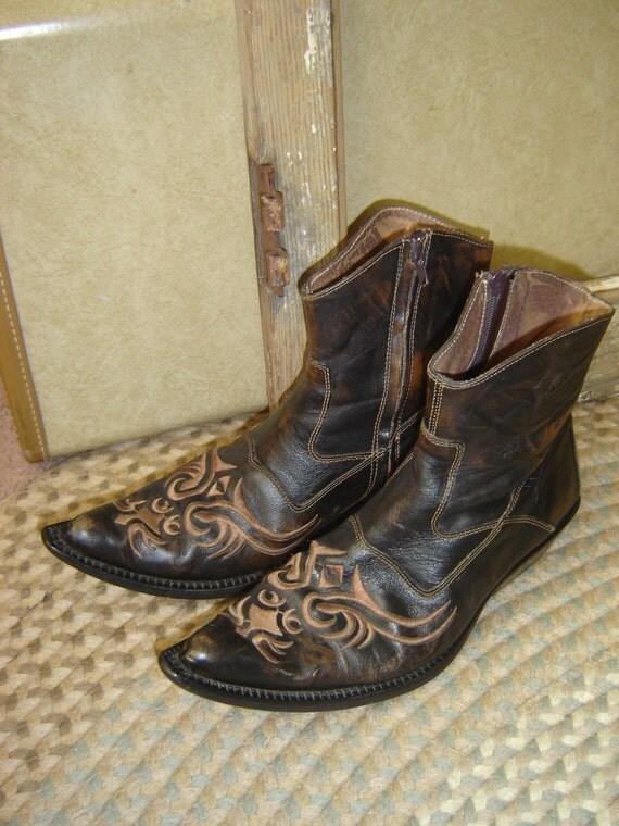 vintage ferrato western low cut ankle boots mens rockabilly
