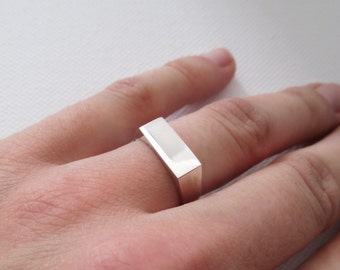 Solid silver signet ring rectangular PERSONALISED engraving