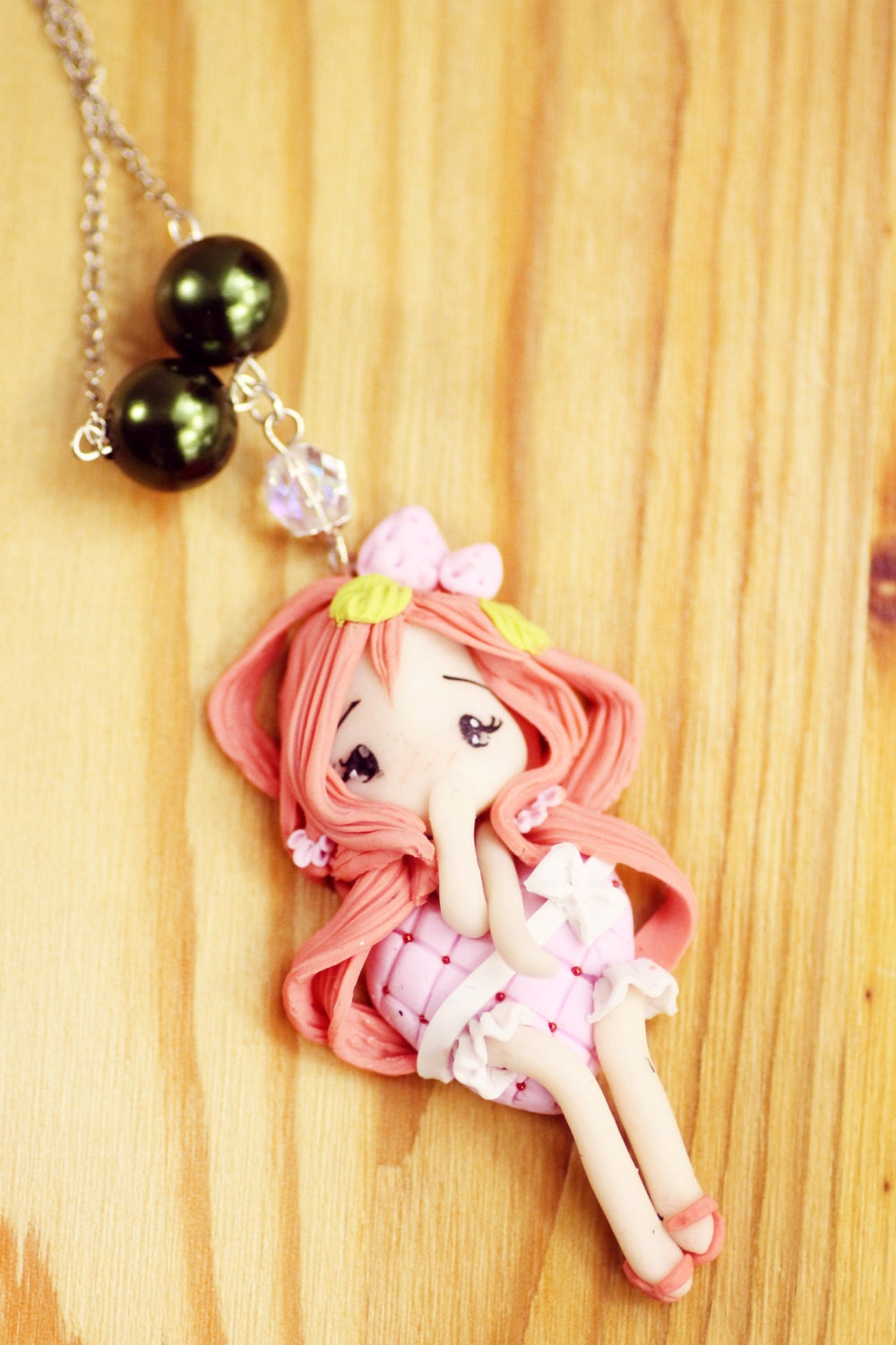 polymer clay fimo necklace doll kawaii charms strawberry