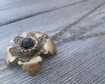 Steampunk Metal Flower Stack Necklace