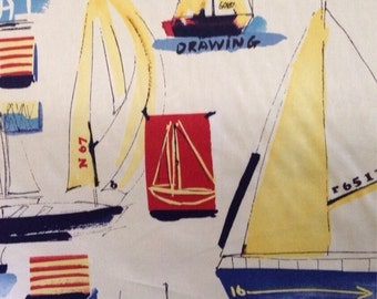 Ships Ahoy Fabric - Coastal Fabric - Beach Decor Fabric - Naturical Decor - Home Decor Fabirc
