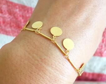 Gypsy Style Gold Disc Charm Bracelet