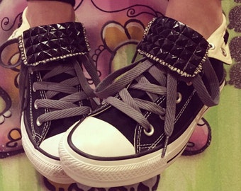 Custom Studded Black Converse High Tops - Chuck Taylors - ALL SIZES & COLORS!!!!
