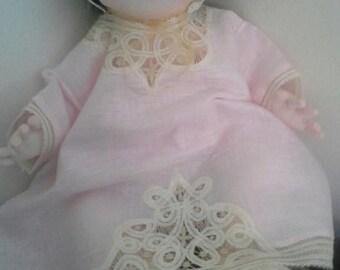 Handmade baby cloth, delicate fagoting