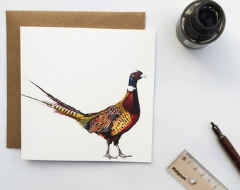 Pheasant Greetings Card - Pheasant Watercolour Illustration - Luxury Pheasant Card - Bird Cards - Blank Card