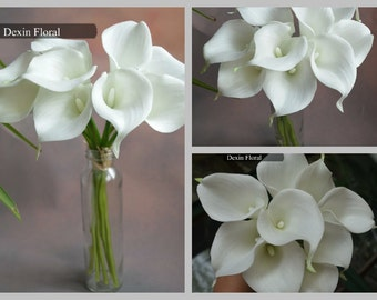 Real Touch Calla Lilies Ivory White Callas for Silk Wedding Bridal Bouquets Bridesmaids Bouquets Table Centerpieces