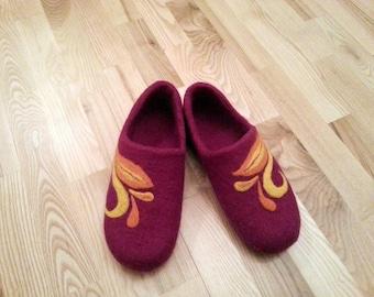 Womens Felt Wool Handmade Slippers