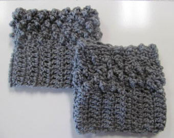Knobby Textured Gray Boot Cuffs