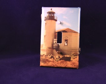 Coquila Lighthouse Handmade decoupaged light switch cover, finished with a clear, protective coat with 2 painted screws included.