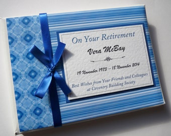 Personalised Blue Retirement/Wedding/Occassion Guest Book