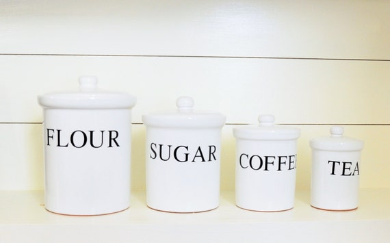 4 piece white kitchen canister set black writing for flour