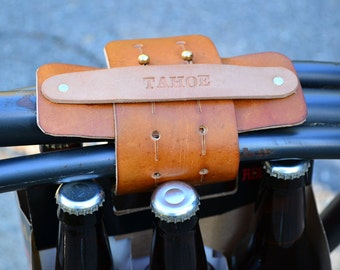 Leather Six Pack Beer Harness for Bike Frame  - Handmade by TahoeMade - Includes Personalized Tag and Brew Harness