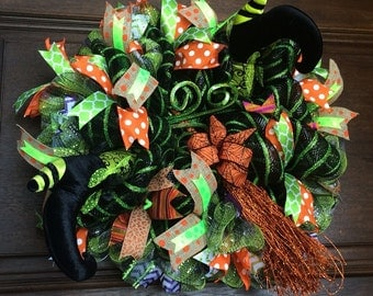 Halloween Wreath, Witches Boots, Broom, Deco Mesh