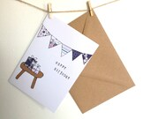 Handmade Birthday Bunting Card, Floral/Shabby Chic CAN BE PERSONALISED