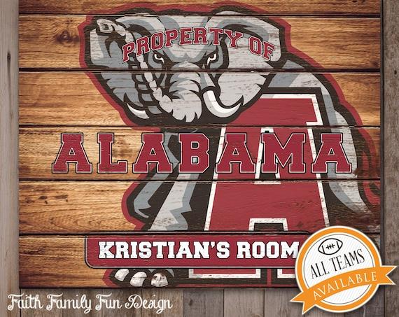 Alabama Man Cave Signs : Alabama crimson tide team sign printable roll