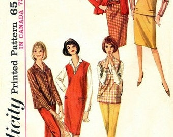 Simplicity 5574 Boxy Blouse, Jumper or Top, Skirt & Pants 1964 / SZ10 UNCUT