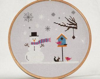Winter Cross Stitch Pattern-snowman, snowflakes, birdhouse, tree, squirrel, PDF, instant download