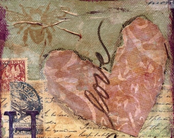 Heart Mixed Media - 6x6, 8x8 and 12x12 Print of Original