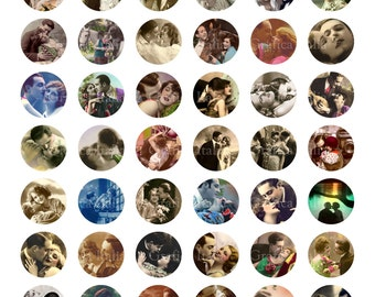 Vintage ROMANTIC COUPLES 1 inch circle digital download Collage Sheet Clip Art for pendants, magnets, Bottle Caps, scrapping, craft supply.
