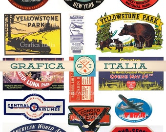15 LARGE USA Travel Stickers -  Retro Digital Printable Collage Sheets - Vintage Luggage Labels - Instant Download - 003