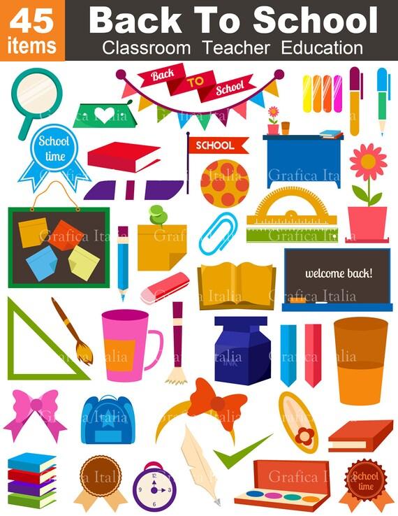 Classroom Design Elements ~ Back to school clipart teacher classroom clip art