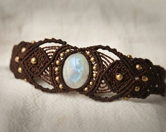 Magical Moonstone Macrame Bracelet Tribal
