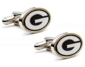 Green Bay Packers style Cufflinks Cuff Links Best man Groomsmen Wedding Gift Father's Day Graduation Dad Birthday Football