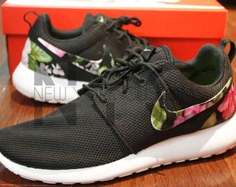 release date 48461 38a50 ... Nike Roshe Run Black White Hibiscus Floral Print Custom Men   Womens  nike  roshe hawaiian floral ...