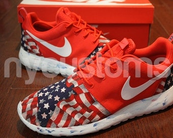 low priced 85219 70b3d ... Men Sizes 9   13 - Nike Roshe Run Red Marble American Flag Pride V5  Edition ...