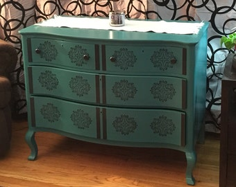 Not For Sale- Vintage Teal & Black 4 Drawer Dresser