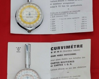 REDUCED French CURVIMÉTRES - for Measuring Distance in Metres / Kilometres