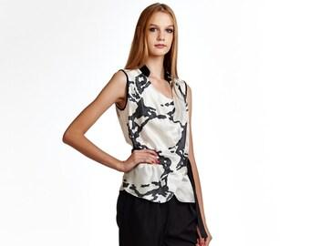 Handpainted silk blouse, sleeveless