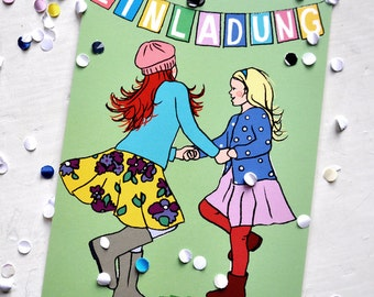 Invitation Cards for Girls Birthday Party, Pack of 6